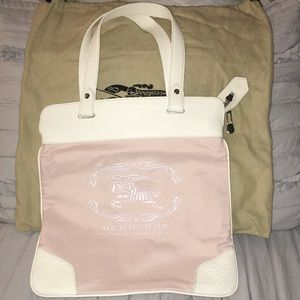 Burberry Embroidered Cotton/Leather Trimmed Tote